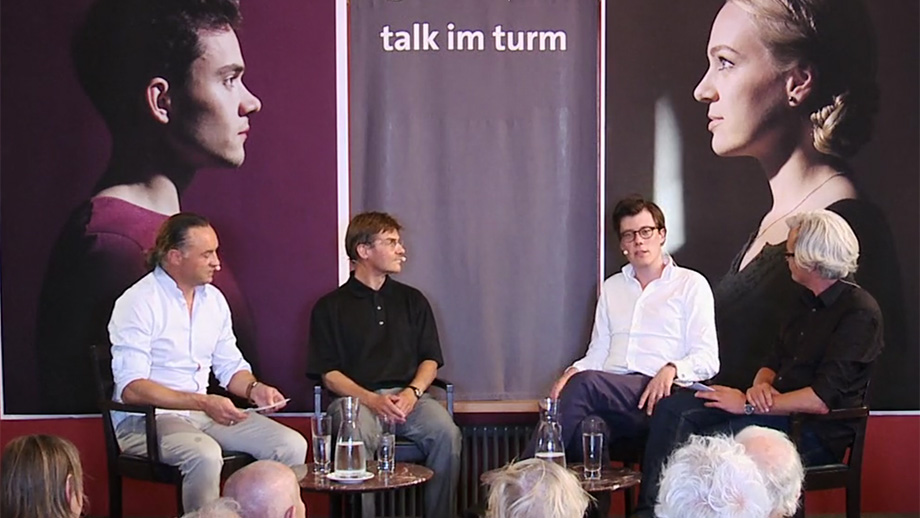Roger Nickl and Thomas Gull in a discussion with Barbara König and Carel van Schaik (12 March 2012)