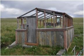 Unused greenhouse infrastructure at the Ayutun site (Photo: M. Schaepman, July 2013).