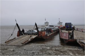Ferry boats crossing the Lena river remain an adventure for us. Photo: G. Schaepman-Strub, July 2013.