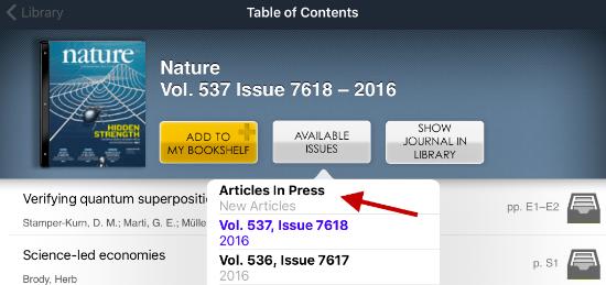 Articles in Press in der App