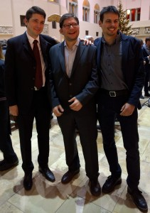 Lorenz Fischer, Cosmin Basca, and Philip Stutz at their graduation event.