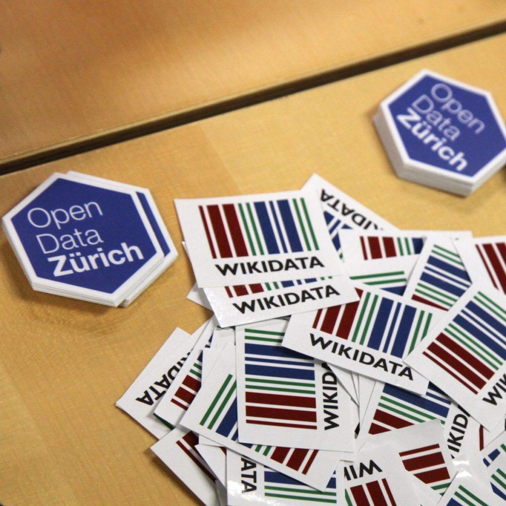 Stickers at Wikidata Workshop Zürich