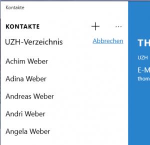 UZH Directory in der Kontakt App für Windows 10