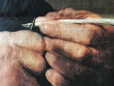 Detail from Rembrandt's Portrait of a Man Trimming his Quill