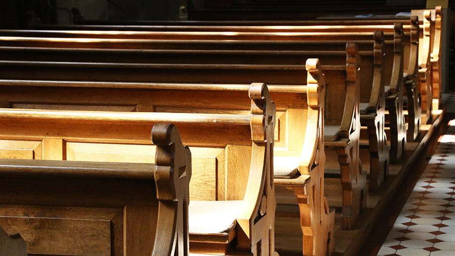 Empty benches in a church