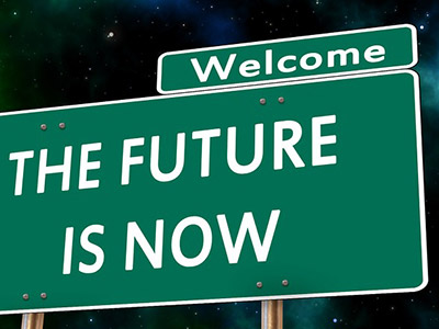 Schild «The Future is Now»