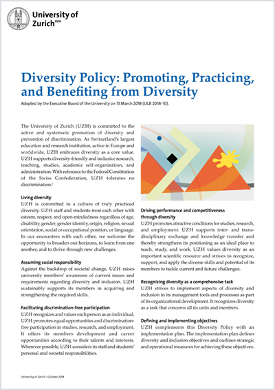 Diversity Policy of the University of Zurich (Cover)