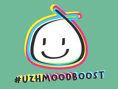 Smiley with hashtag #uzhmoodboost