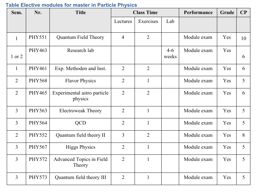 Particle physics elective modules